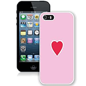 NEW Unique Custom Designed iPhone 5S Phone Case With Simple Pink Love Heart_White Phone Case