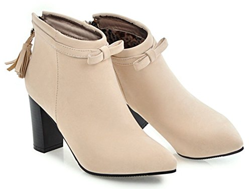 Aisun Womens Fringed Faux Suede Dressy Zip Up Pointy Toe Ankle Boots Chunky High Heel Booties With Bows Beige pbTU1Y