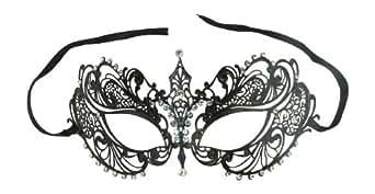 Prom Black Venetian Laser Cut Metal Mask Masquerade with Sparkling Rhinestones