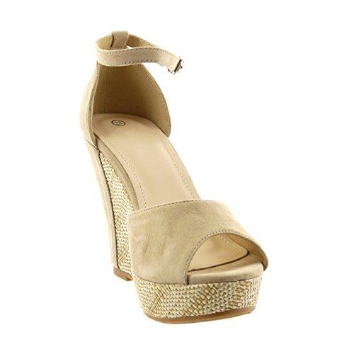 Sopily - damen Mode Schuhe Sandalen Schleife Seil - Beige