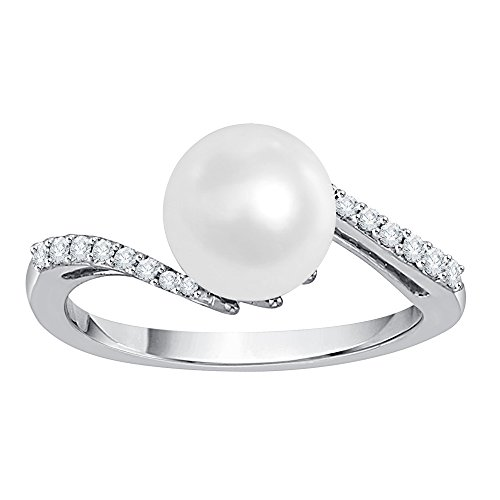 KATARINA Diamond and Pearl Fashion Ring in 10K White Gold (1/10 cttw, G-H, I2-I3) (Size-6)