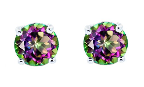 NYC Sterling Womens Silver Rainbow Fire Shiny Mystic Topaz 1.58 Carat Cubic Zirconia Stud Earrings (Round Cut)