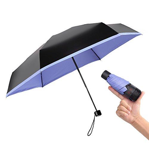 BOY Mini Umbrellas for Travel, Folding UV Umbrella, Compact, Rosemary-Blue