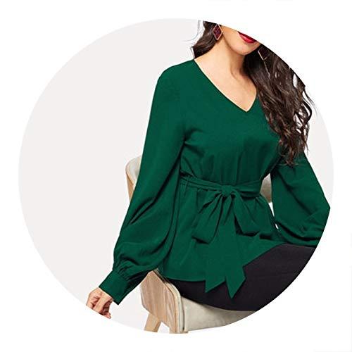 Green OL Lantern Sleeve Belted Textured V Neck Solid Blouse Women Blouses,Green,L