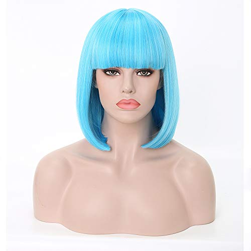 (Rosa Star Short Bob Hair Wigs with Flat Bangs Straight Synthetic Colorful Costume Cosplay Wig for Women(Light)