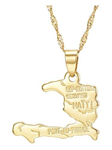 Fusamk Hip Hop Plated 18K Gold Haiti Map Tag Pendant Necklace (Accessories Haiti)