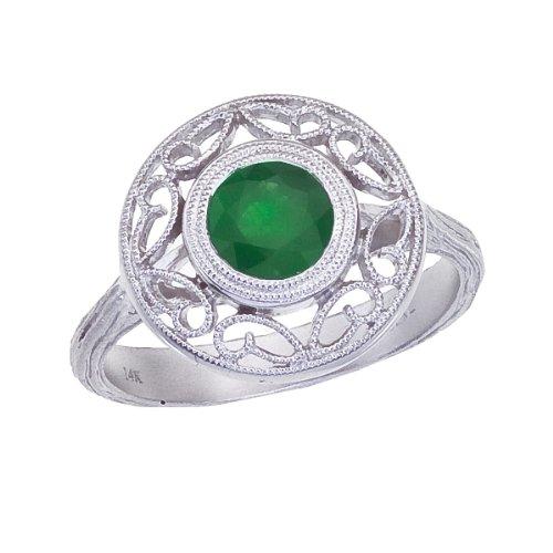 0.80 Carat ctw 14k Gold Round Green Emerald Filigree Design Engagement Cocktail Anniversary Fashion Ring - White-gold, Size 4.5