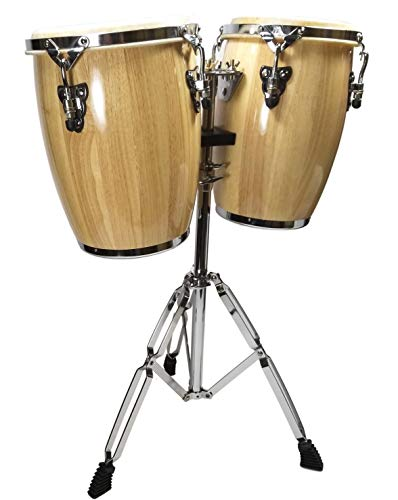 "NATURAL CONGA DRUM SET - 9"" and 10"" inch HEADS + STAND"