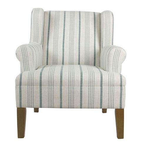 Accents Calypso Light - Meadow Lane Emmett Rolled Arm Accent Chair - Blue Calypso Stripe