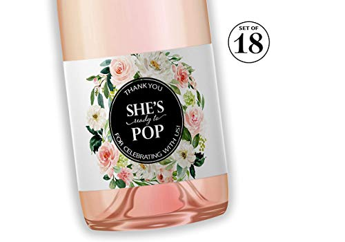 She's Ready To POP ● SET of 18 ● Blush Rose Baby Shower Mini Champagne Labels, Thank You for Celebrating with us Mini Champagne Labels POP When You Get the News Favors WATERPROOF M625-BLK-POP-18