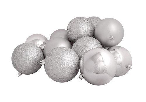 16ct Silver Splendor Shatterproof 4-Finish Christmas Ball Ornaments 3'' (75mm) by Vickerman