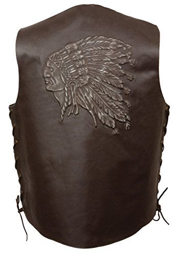 Event Leather Men's Indian Head Vest (Brown, 5X-Large)