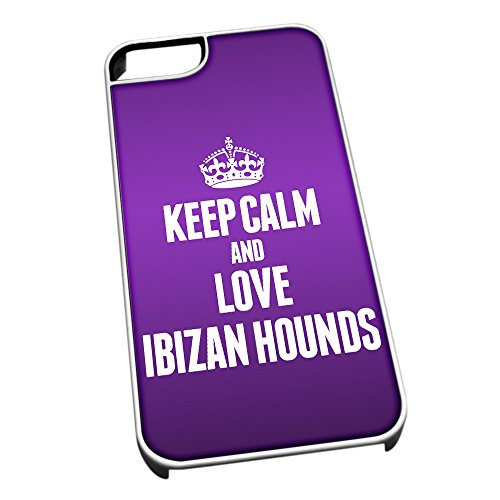 Bianco cover per iPhone 5/5S 2016 viola Keep Calm and Love Ibizan Hounds