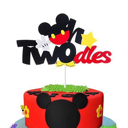 MALLMALL6 Mickey Two Birthday Cake Topper Twodles Mickey Birthday Party Supplies Cute Cake Decorations Two Years Old Mickey Themed Birthday Party Favors for 2nd Toddlers Baby Boys Girls -