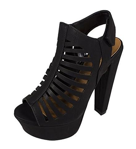 Lustacious Women's Peep Toe Velcro Closure Slingback Cut Out Platform Chunky Heel Sandal, black nubuck leatherette, 7 M - Slingback Platform Heels