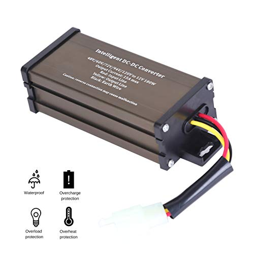 Pro Chaser DC-DC 120V 108V 96V 84V 72V 60V 48V volt voltage to 12V Step Down Voltage Reducer regulator 180W 15A for Scooters & Bicycles Golf cart (Battery Print Cart)