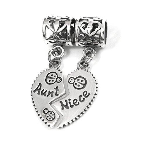 Dreambell .925 Sterling Silver Aunt Niece Family Love Heart Flower Bail Dangle Pendant Bead For Pandora, Troll Chamilia Biagi European Story Charm Bracelet