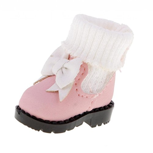 MonkeyJack 1/6 Fashion Dolls Pink Bow Boots Shoes for 12'' Takara Neo Blythe Doll Licca -