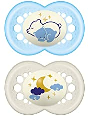 MAM Night Pacifier for 6+ months (2 pack, 1 Sterilizing Pacifier Case), MAM Glow in the Dark Soother with a Soft Silicone Nipple, Baby Essentials, Baby Boy, Designs May Vary