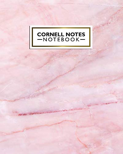 Cornell Notes Notebook: Cute Large Pink Marble Cornell Note Paper Notebook. Nifty College Ruled Medium Lined Journal Note Taking System for School, College & University