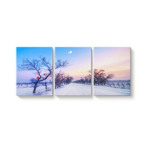 ALAGO Canvas Print Wall Art Cardinals on Tree 3 Panels Oil Paintings Giclee Winter Snow Scenes on Canvas Pictures Stretched and Framed Artwork for Home Decor ()