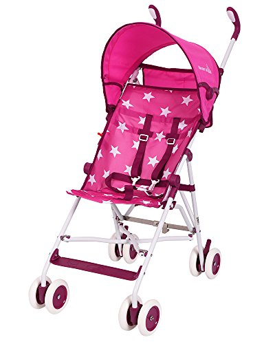 Lightweight Stroller, WonderBuggy Umbrella Baby Stroller with Canopy Fast Fold Compact 5-Point Safety, Pink with Star