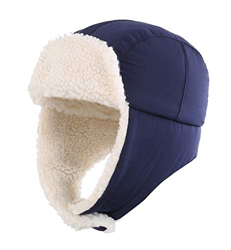 Home Prefer Toddler Boys Girls Sherpa Earflap Hat Kids Winter Hat Snow Ski Hat (L: 53-55cm for Ages 5-8yrs Old, Navy Blue)