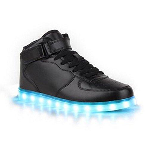 (Present:kleines Handtuch)JUNGLEST JUNGLEST(TM) 7 Farbe USB Aufladen LED Leuchtend Sport Schuhe Sportschuhe Sneaker Turnschuhe für Unis Schwarz High-Top