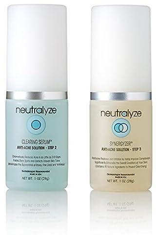 Neutralyze Moderate To Severe Acne Clearing Serum & Synergyzer - Maximum Strength 2-Step Anti Acne Treatment System With Salicylic Acid + Mandelic Acid (1 Ounce - 2 Step System