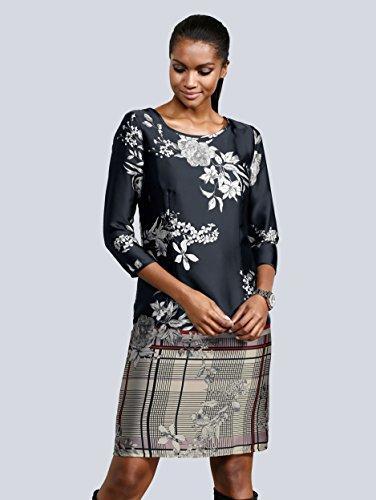 Kleid mit Schwarz aus by und Fließend Mix Moda Alba Damen Karo Blumendruck Einem Eqc4TnpB