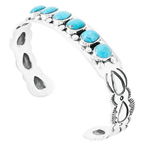 (Turquoise Bracelet Sterling Silver 925 Genuine Turquoise Gemstones Cuff Bracelet (Turquoise))