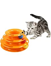 Cat Roller Toys Tower of Three Tracks Interactive Cat Toy Crazy Amusement Plate Cat Fun Interactive Play Mental Physical Exercise Pet Ball Roller Toy (Orange)