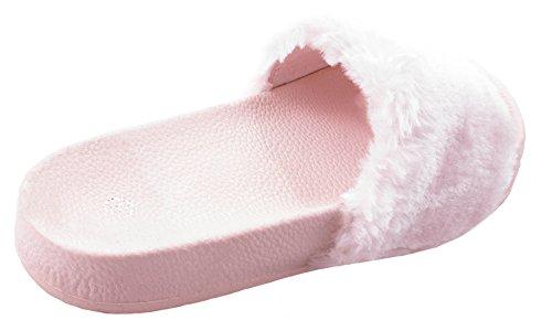 Ciabatte Da Donna Tn-150 Slip On Con Suola Interamente Flessibile E Pelliccia Decorativa Sul Top Blush