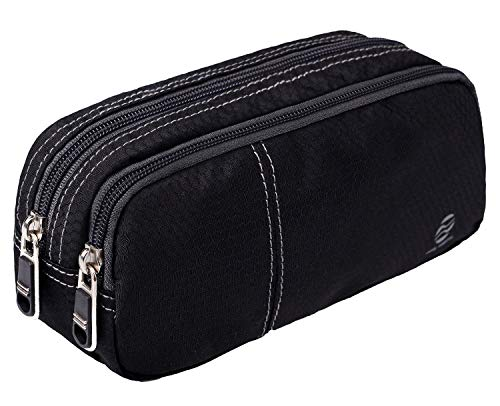 Pencil Case Holder (Only Warm Large Capacity Pencil Pen Case Student Office College Middle School High School Pen Holder Organizer Stationary Bag with Double Zippers Multi Compartments Black)