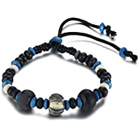MPRAINBOW Unisex Sport Running Wood Natural Beads Bracelet Braided Rope Bracelet for Men Boy Adjustable Bracelet 16-28cm