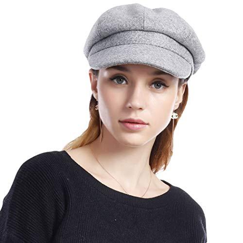 Taylormia Womens Fall Winter Classic Newsboy Cabbie Beret Hat Soft Warm Wool Octagonal Cap(Grey)