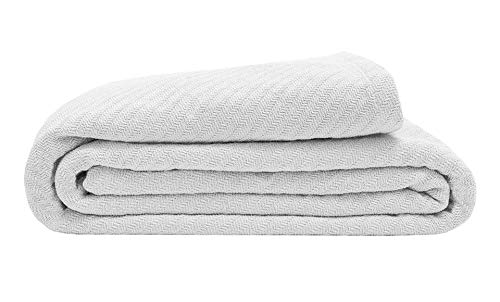 Elite Home 100% GOTS Certified Organic Cotton Super-Soft Bed/Throw Blanket, White, King