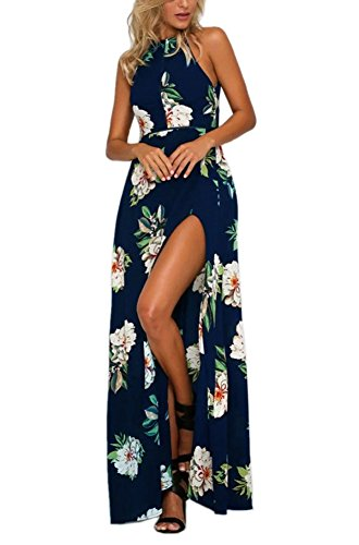 Foyean Women's Halter Backless Maxi Summer Beach Dress Side Split with Special Belt 2602-NV Medium