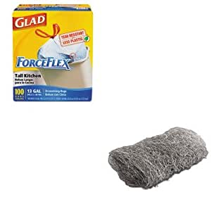 KITCOX70427GMA117007 - Value Kit - Global Material Technologies Industrial-Quality Steel Wool Hand Pad (GMA117007) and Glad ForceFlex Tall-Kitchen Drawstring Bags (COX70427)