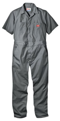 Dickies Men's Short Sleeve Coverall, Gray, X-Large Regular