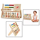 OFKP Multipurpose Baby Wooden Educational Alphabet Abacus Toys Montessori Teaching Tool Kids Wooden Toys