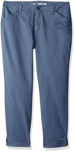 LEE Women's Eased Fit Embroidered Tailored Chino Ankle Pant, Vintage Stellar, -