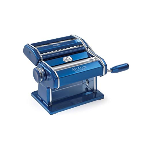 Marcato Atlas 150 Pasta Machine, Made in Italy, Includes Cutter, Hand Crank, and Instructions, Blue