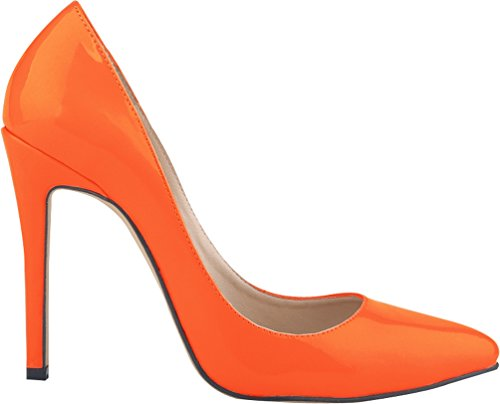 CFP YSE-302-1QP Womens Business Lightweight Wedding Formal Occasions Classic Office Stiletto Fair Ladies Slim High Heel Charm Pointed Toe Shallow Mouth Pump Sweet Various Colors Orange lRt6GW
