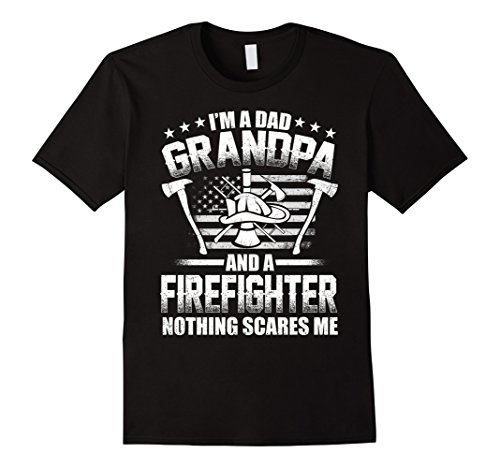 Mens  I'm A Dad Grandpa T-Shirt Firefighter Father's Day XL Black
