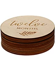 Kisangel 12Pcs Wooden Milestone Photo Cards Newborn Milestone Discs Baby Monthly Gift Sets Baby Monthly Photo Props for Baby Pregnancy Announcement Supplies