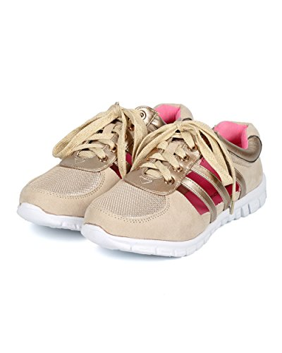 Misbehave Cf92 Mujer Suede Cutout Ligero Lace Up Fashion Sneaker Gold