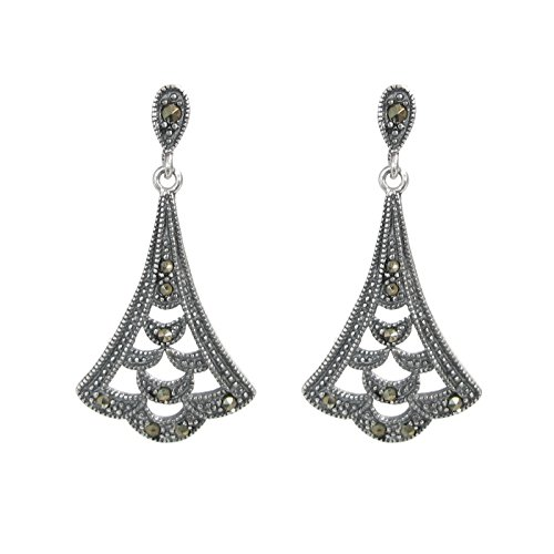 Vintage 925 Sterling Silver Marcasite Teardrop Bali Flower Leaf Charm Chandelier Earring Stud Post (Silver Marcasite Flower Earrings)