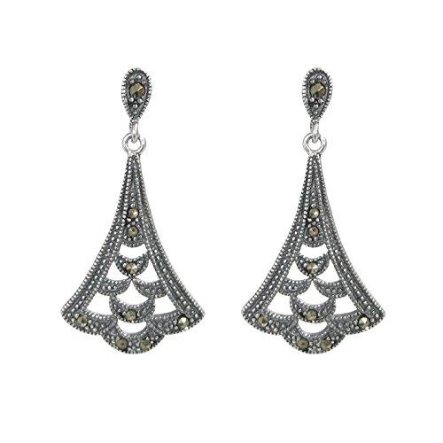 Vintage 925 Sterling Silver Marcasite Teardrop Bali Flower Leaf Charm Chandelier Earring Stud Post