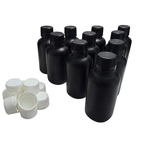 KENZIUM - Pack de 10 Botellas de Laboratorio + 10 Tapones Blancos + 10 Negros, para Muestras de 500 ml | de Cuello Ancho, de Plástico HDPE, Frascos Opacos, para Productos Fotosensibles